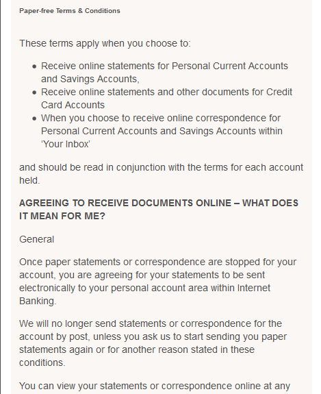 TSB Paper-free Terms and Conditions
