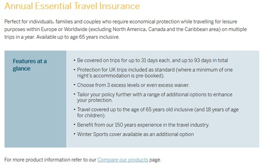 American Express Travel Insurance Screenshot 1
